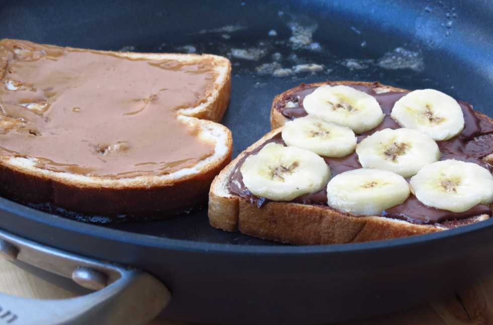 Cooking Nutella Cookie Butter Banana Grilled Cheese