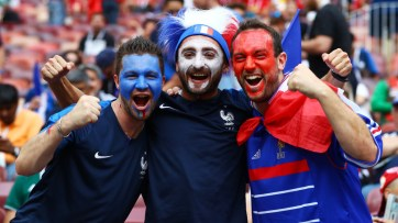 Mandatory Credit: Photo by Kieran McManus/BPI/REX/Shutterstock (9762196e) France fans with painted faces France v Croatia, Final, 2018 FIFA World Cup football match, Luzhniki Stadium, Moscow, Russia - 15 Jul 2018