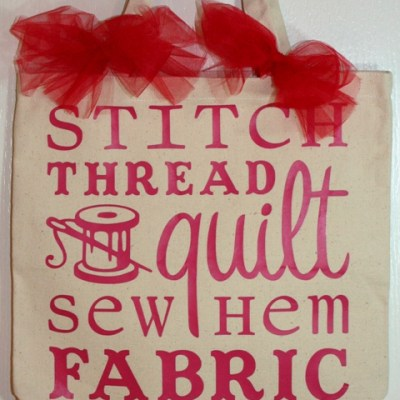 Cricut Word Collage Vinyl Sewing Quilting Canvas Bag