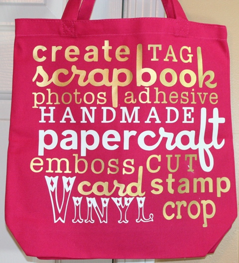 Cricut Word Collage Vinyl Scrapbooking Canvas Bag With