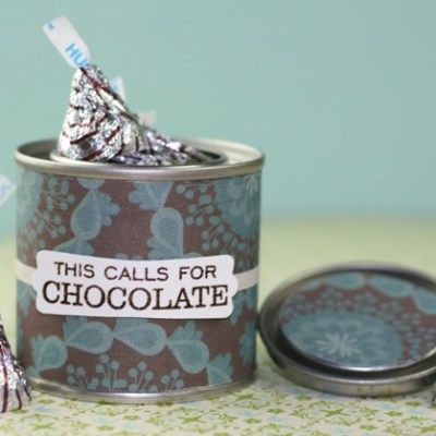 Adhesive Fabric Chocolate Treat Paint Can