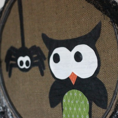 Halloween Wall Hanging from Upcycled Lamp Shade & How to Paint Fabric
