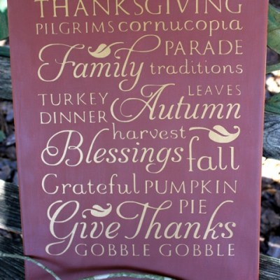 Cricut Vinyl Subway Art Thanksgiving Sign