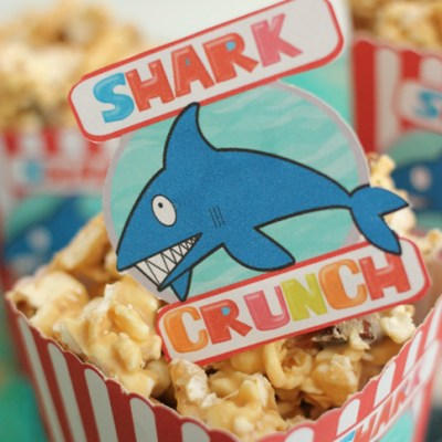 Shark Week Popcorn Box & White Chocolate Peanut Butter Popcorn Recipe