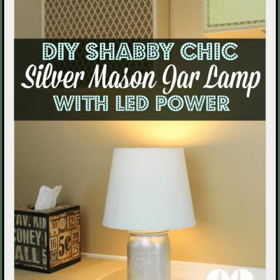 DIY Shabby Chic Silver Mason Jar Lamp with LED Power