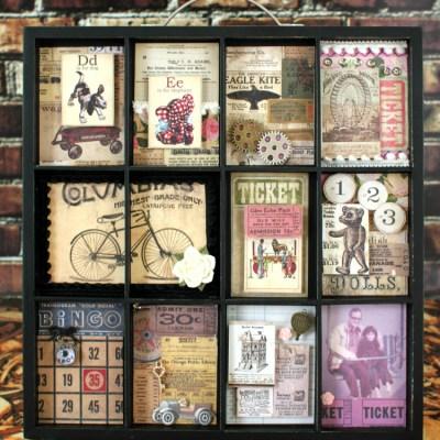 Typesetter Tray Memory Frame – Glue Dots & Marion Smith Blog Hop