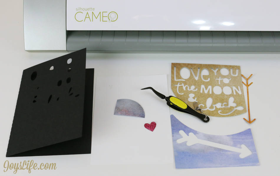 Love You to the Moon Card - Xyron & Paper House Blog Hop #Xyron #PaperHouse #SVGCuts #SilhouetteCameo