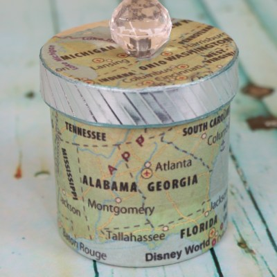 Decoupaged Paper Mache Map Box