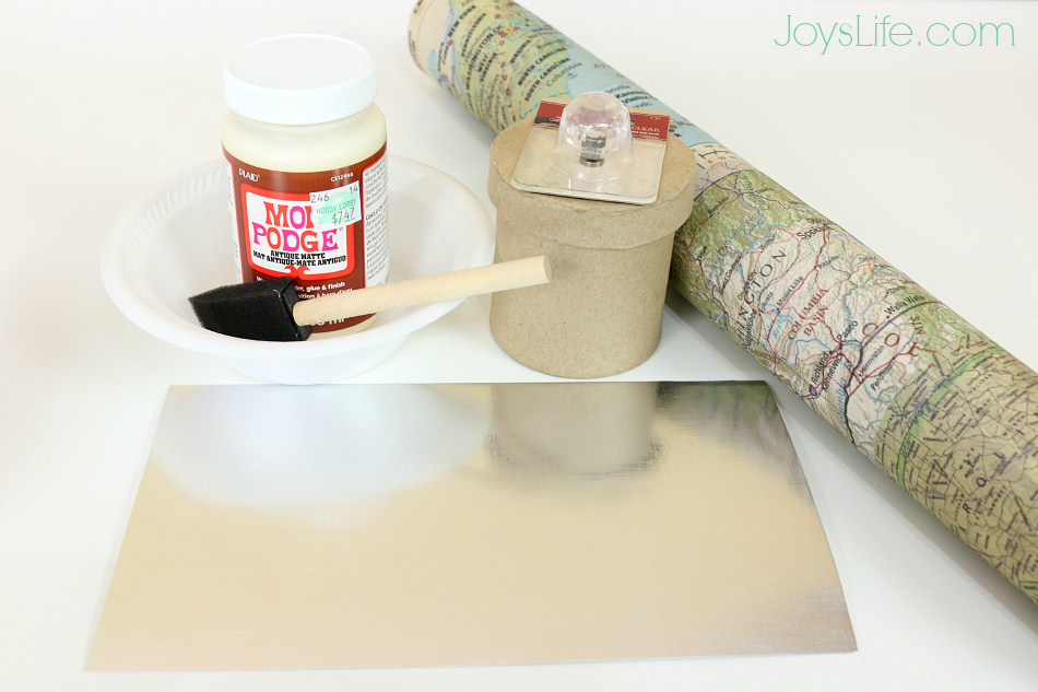 Decoupaged Paper Mache Map Box Supplies