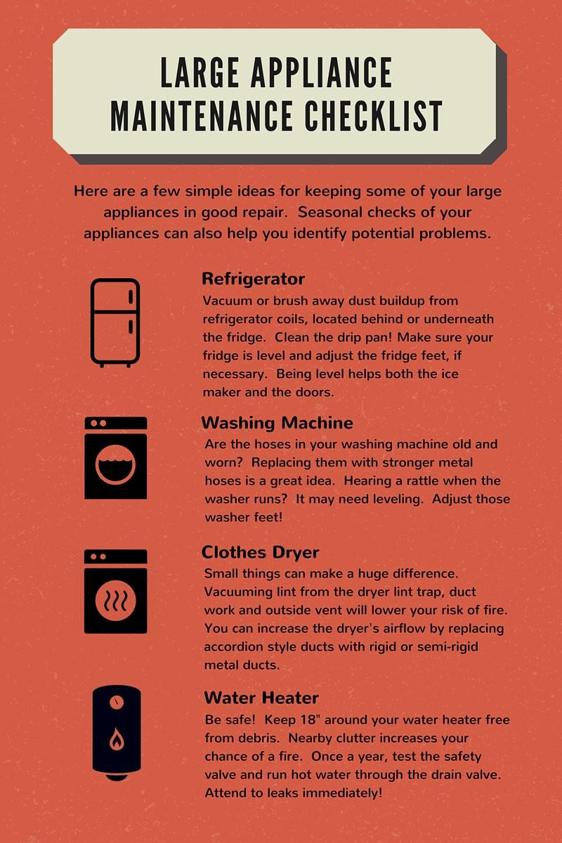 Large Appliance Maintenance Checklist