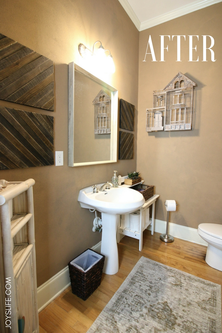 My bathroom AFTER a quick farmhouse fabulous makeover.