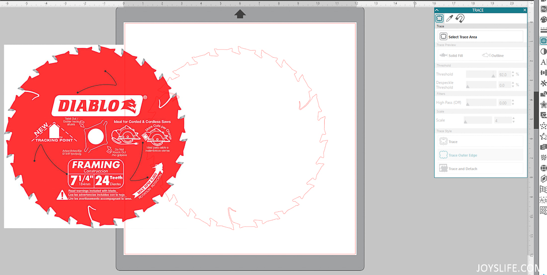 Saw Blade outline with Silhouette Studio Software