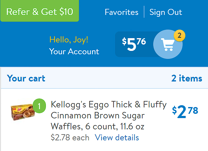 eggo cinnamon brown sugar waffle in walmart online cart