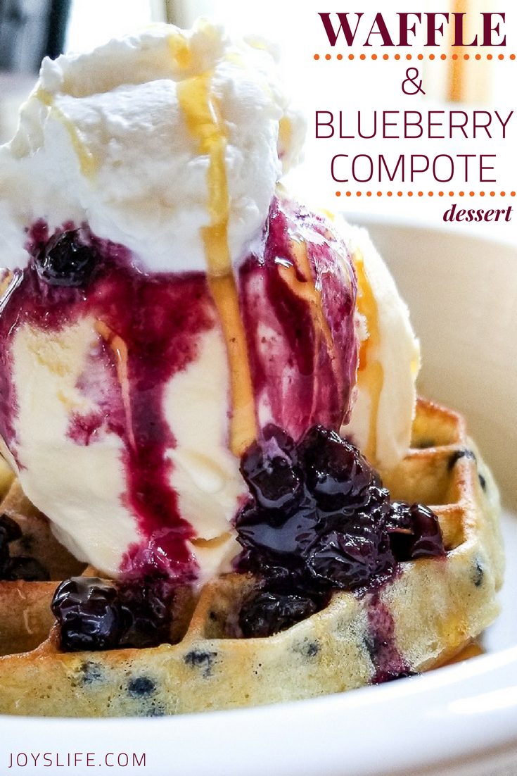 Waffle And Blueberry Compote Ice Cream Dessert Joy S Life