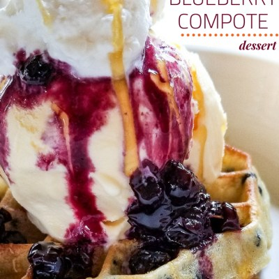 Waffle and Blueberry Compote Ice Cream Dessert