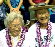 Sammy Kadotani, 91, one of the schools biggest boosters enjoys the event with this wife.