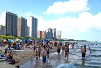 Oak St. Beach along Lakeshore Drive 5 minutes from downtown