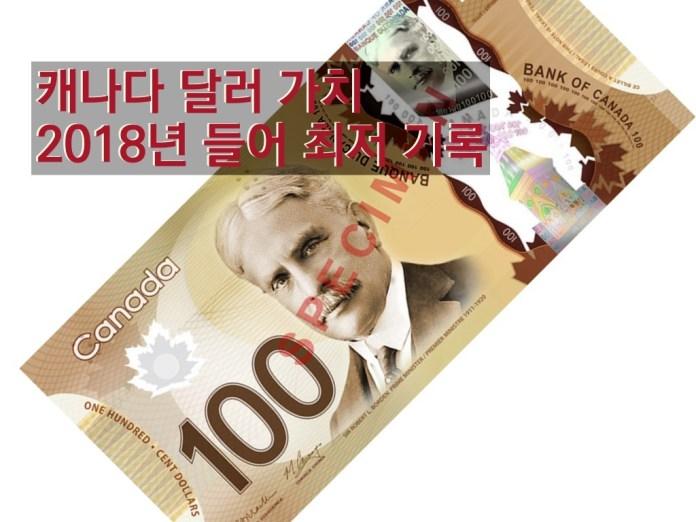 캐나다 달러 가치, 올해들어 최저 수준