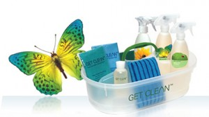 Get Clean cleaning items: bottles, cloths, tote