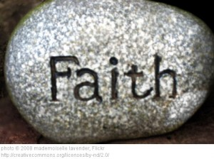 faith carved in a rock