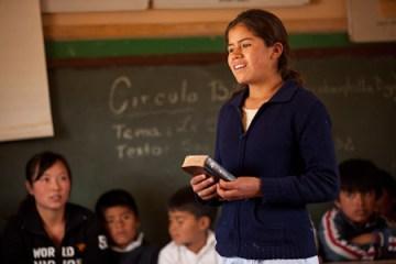 Bolivia girl teaching