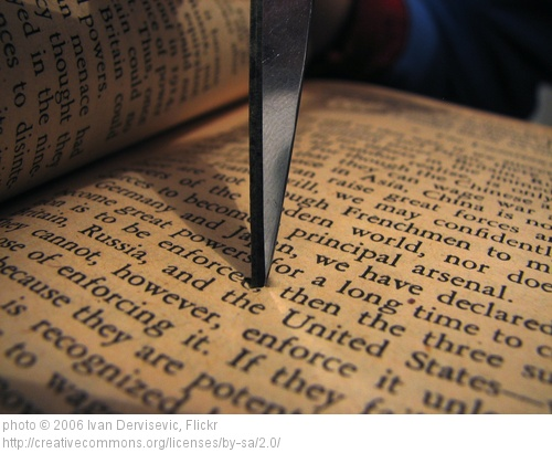 scissors and pages in a book
