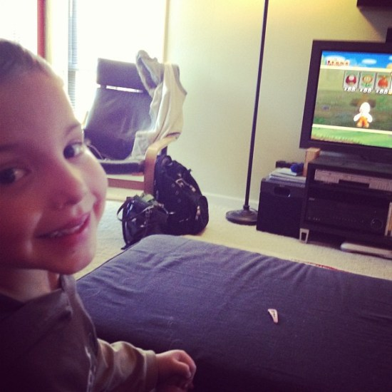 playing Mario Brothers with my son