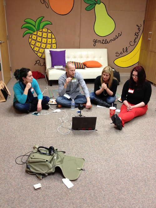 Joy, Jason, Kristen, and Sharideth recording the 9Thumbs podcast