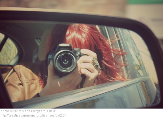 person in rearview mirror