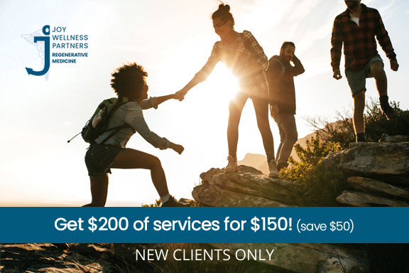an ad for new client services where a woman is helping another woman climb a mountain with her friends.