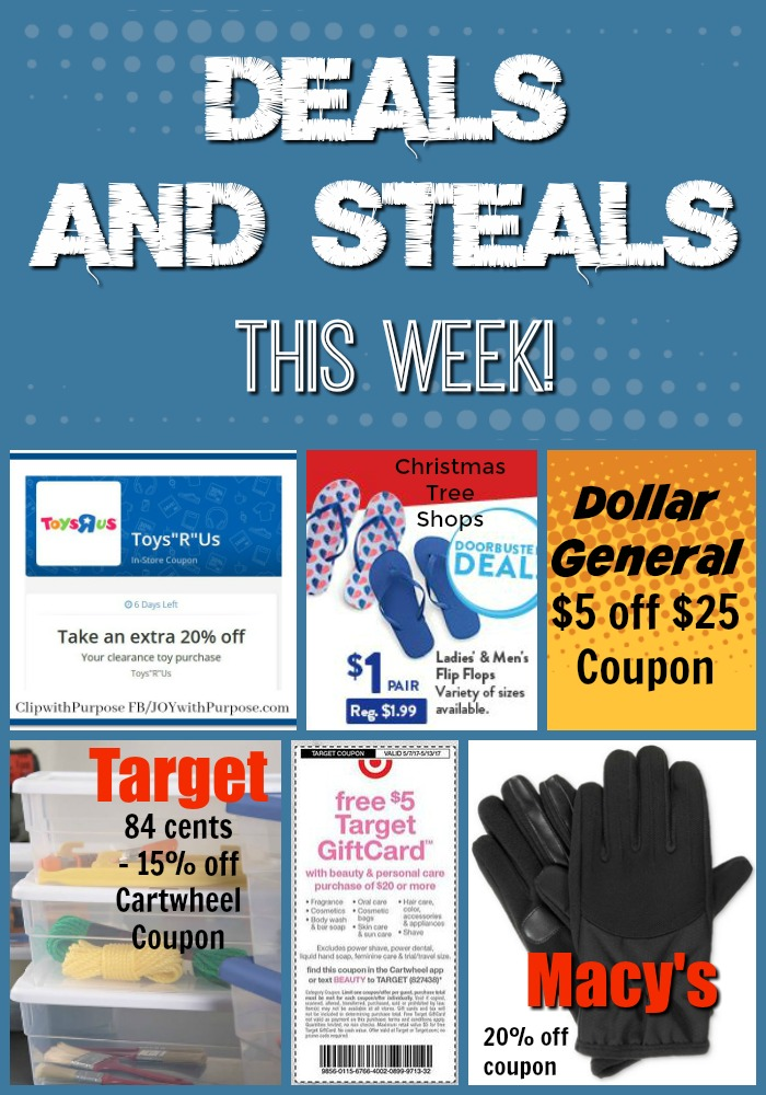 Coupon Savings for Target, Macy's, Dollar General, Toys R Us and Christmas Tree Shops