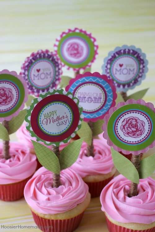 Mothers Day Printable Cupcake Toppers