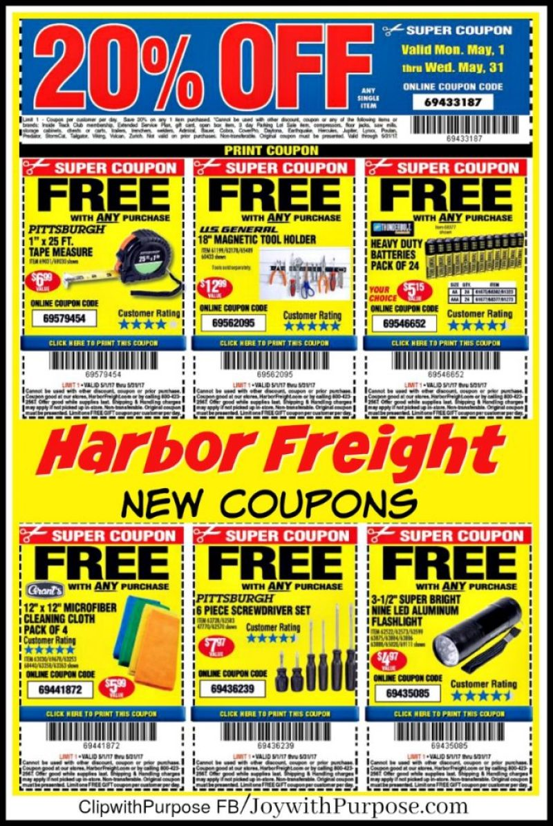 New Harbor Freight Coupons! Good for May 2017 - Joy with ...