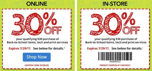 Back to School Sales for July 23 at Office Depot 30 off coupon
