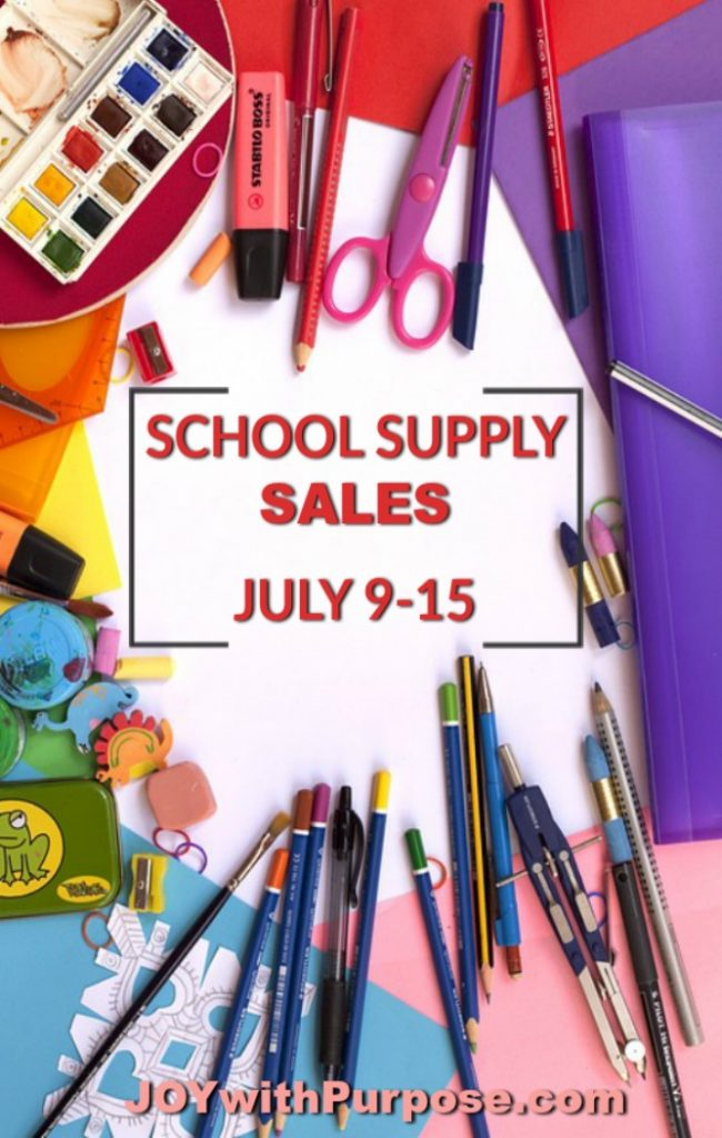 School Supply Sales for July for Walgreens Target Dollar General Amazon Staples Office Depot