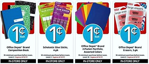 Office Depot Penny Sales to stock up on school supplies