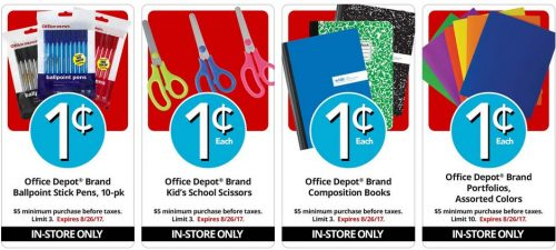 With these Penny Deals you can get cheap school supplies at Office Depot this week