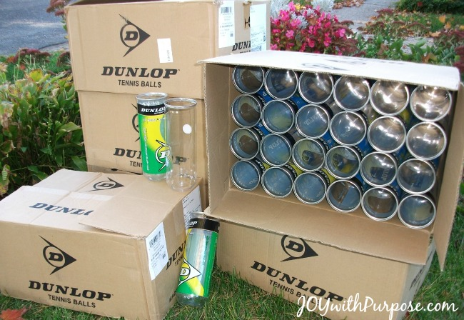 Upcyle Empty Tennis Ball Containers to make pencil cases, hygiene or sewing kits for charity