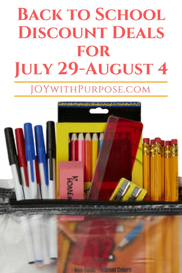 Back to School Discount Deals for July 29-August 4, 2018