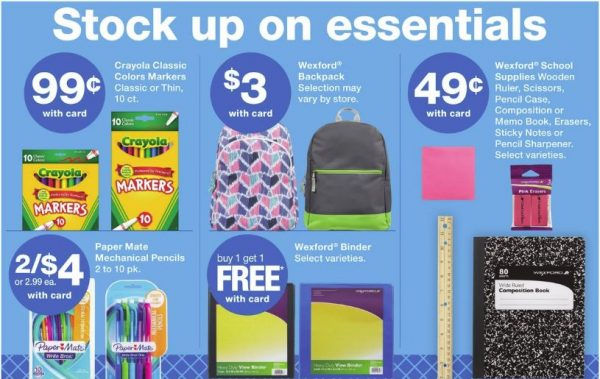 Back to School Discount Deals for July 29-August 4, 2018 at Walgreens