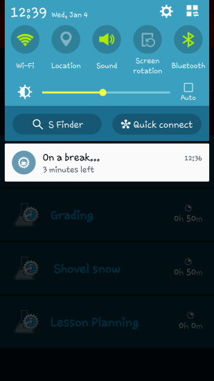 Break time is also displayed in Notifications