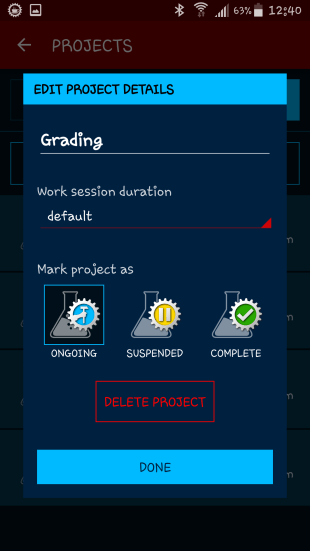 The project screen.