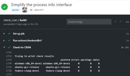 GitHub Action log for package check via R Hub