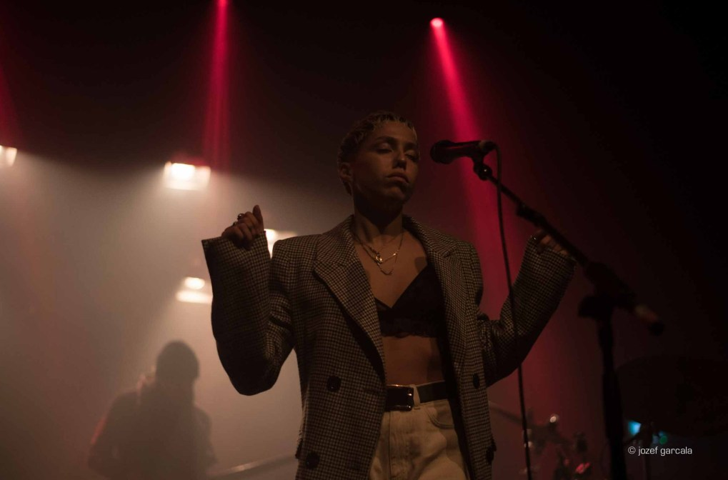 South East London's singer and songwriter Poppy Adjuha onstage at Village Underground