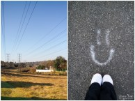 delta park and smiley face on road