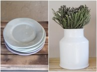 Green Plates and White Vase