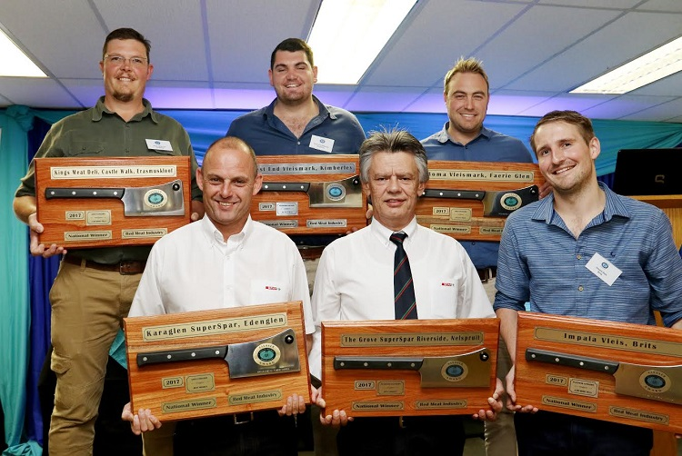 he countries best butcheries were recognised at the annual Cleaver Awards at Definitive Conferencing in Isando, Ekurhuleni on Wednesday afternoon, April 25. Scooping the national accolades in the three categories of the competition (butcheries with four or more till points, butcheries with up to three till points and food market/supermarket butcheries) were Impala Vleis, Brits (Platinum), Kings Meat Deli, Castle Walk, Erasmuskloof (Gold), West End Vleismark, Kimberley (Platinum), Boma Vleismark, Faerie Glen (Gold), The Grove Superspar, Nelspruit (Platinum) and Karaglen Superspar, Edenvale (Gold) respectively. Pictured here with the awards for these top butcheries are, in the front, Marius Jordaan (Karaglen Superspar), Rudi Oosthüyse (The Grove Superspar) and  Walter Rossouw (Impala Vleis). At the back, Eloff du Toit (Kings Deli) José de Klerk (West End Vleismark) and Bertus Steenkamp (Boma Vleismark). Apart from the  trophies the Platinum award winners received R20 000 while the runner-ups each got R10 000. (Photograph by Yolanda van der Stoep)