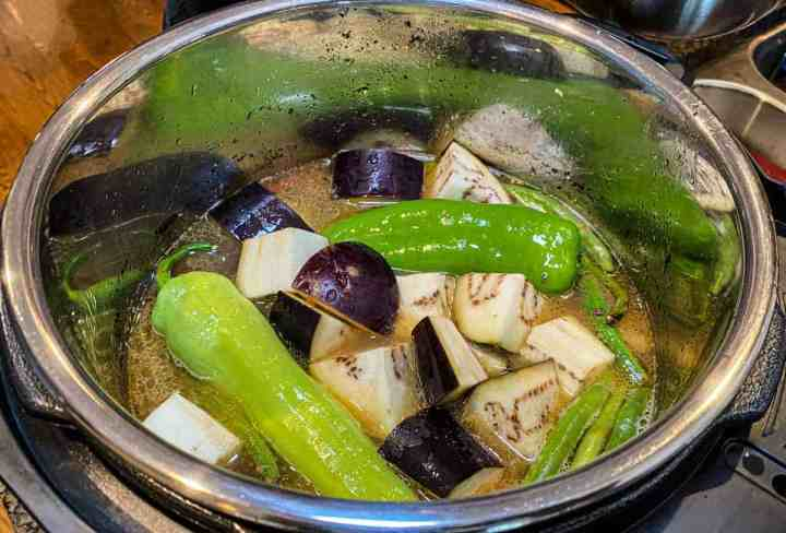 Sinigang Pork with Eggplant Green beans and Anaheim Peppers