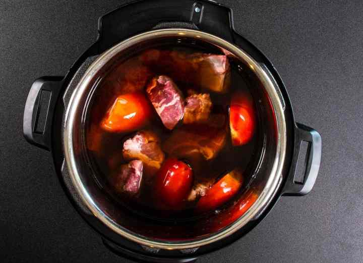 Pork and tomatoes in Instant Pot