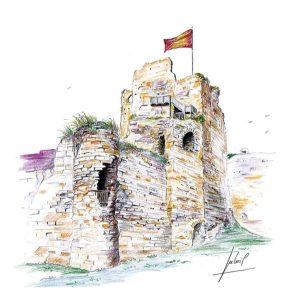 Donjon du château de Talmont-Saint-Hilaire - Aquarelle de Jean-Pascal Duboil